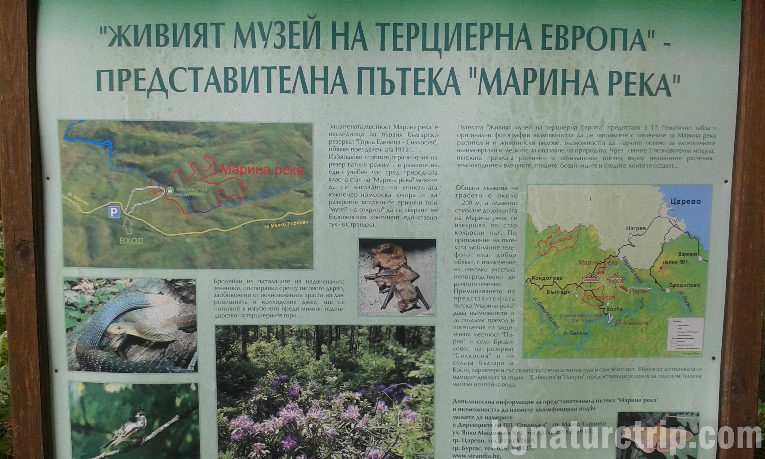 Информационна табела по пътеката към Марина река, общ. Царево