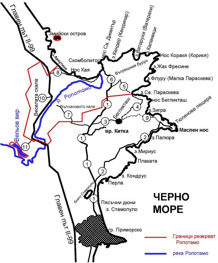 Карта на туристическите пътеки в резерват Ропотамо