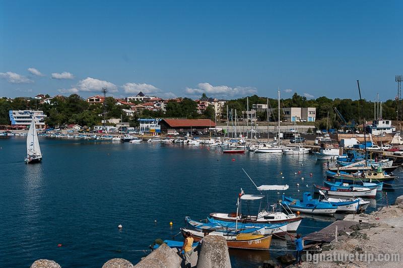 Изглед от края на пристанището на Царево