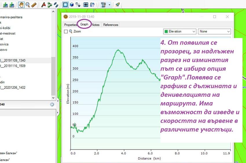 Отваряне на надлъжен разрез на трака - дължина и денивелация в BaseCamp
