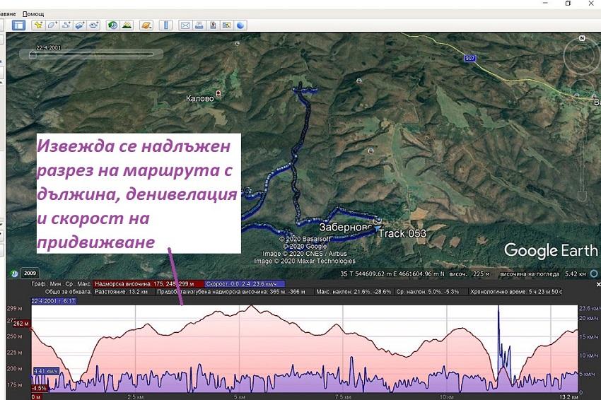 Отваряне на надлъжния разрез на трака - дължина, денивелация и скорост в Google Earth Pro