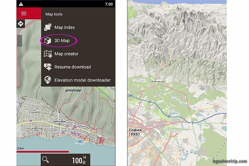 3D изглед в Oruxmaps на картата